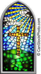 Stained glass window - Vector Illustration of a stained ...