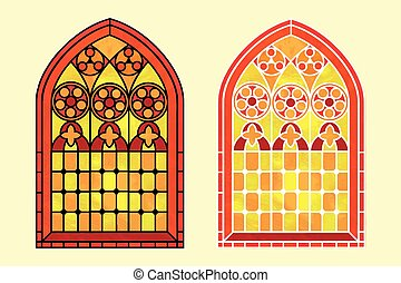 Stained glass window warm tones - A Gothic Style stained...