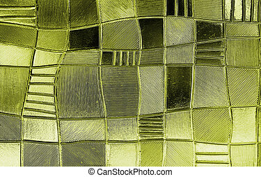 stained glass window with irregular block pattern in a hue ...