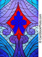 Stained glass window with multi-colored abstract pattern.