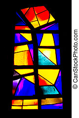 Stained-glass windows in a church in Bethlehem, Israel