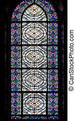 Stained glass windows in the Saint Germain des Pres Church, Paris, France