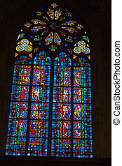 Stained glass windows of Saint Gatien cathedral in Tours, France.