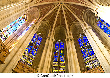 Stained glass windows - colorful windows in a church in...