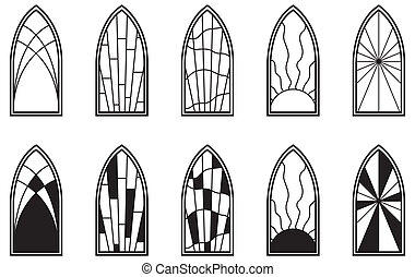 Stained Glass Windows - Vector art depicting isolated ...