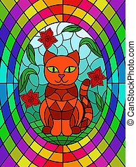Stained glass with cat among the flowers