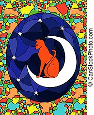 Stained glass with cat on the moon