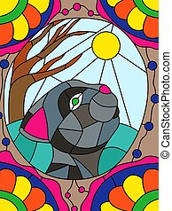 Stained glass with cute cat