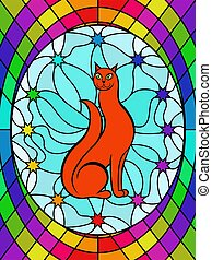 Stained glass with funny kitty