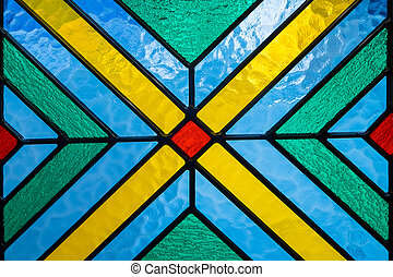 Stained glass with multi colored background - Stained glass...