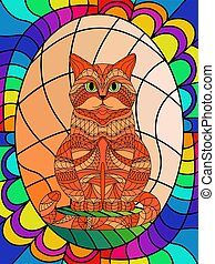 Stained glass with ornamental cat