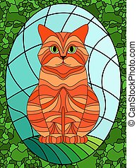 Stained glass with serious cat
