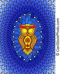 Stained glass with sleeping owl