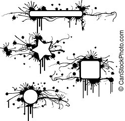 Four shapes grunge frames with stains and drops. All vectors!