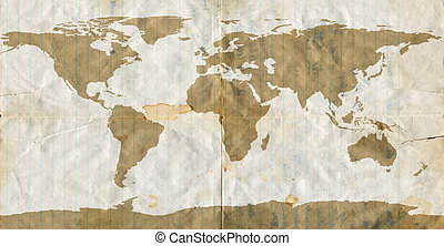 Stained Loose Leaf Paper World map