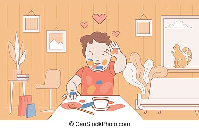 Stained with paint boy drawing and leaving handprints on paper vector cartoon outline illustration.