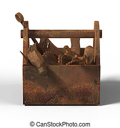 stained worn-out toolbox with rusty tools, wrench, spanner, hammer, screwdriver. rendering. illustration bad fix, mad-max, fallout, post apocaliptic maintenance, danger unauthorised service