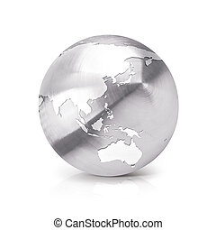 Stainless Asia & Australia world map 3D illustration