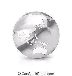 Stainless Asia & Australia world map 3D illustration
