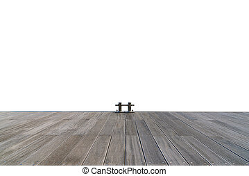 Stainless boat bollard and wooden walkway isolated on white background.