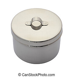 Stainless cotton wool container closed on white background.