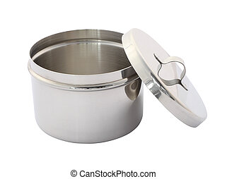 Stainless cotton wool container open cover on white background.