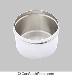 Stainless cotton wool container open on gray background.