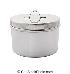 Stainless cotton wool container with cover on white background.