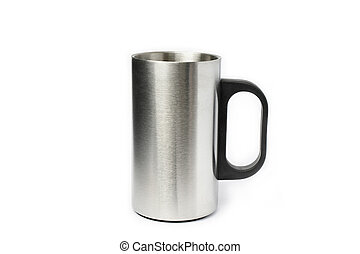 Stainless cup on white background