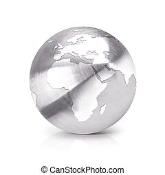 Stainless globe 3D illustration europe and africa map