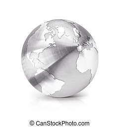 Stainless globe 3D illustration North and South America map