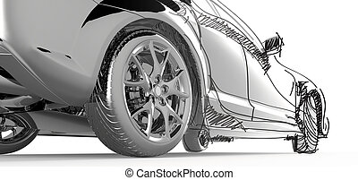 stainless model car and sketching