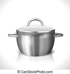 Stainless Pan - Steel Pan isolated on white. Vector...