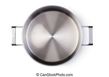 Stainless pan isolated on white background