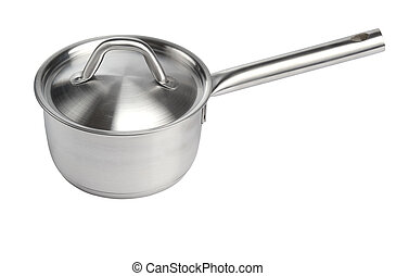 stainless pan with handle - stainless pan scoop isolated on...