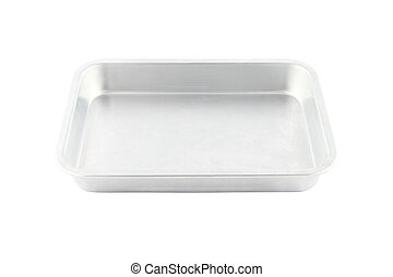 Stainless rectangle food plate on white background.