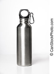 Stainless steel bottle on white background.