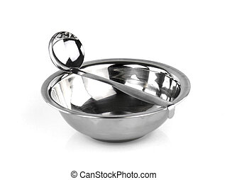 Stainless steel bowl and soup ladle Isolated on white background
