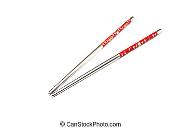 Stainless steel chopsticks with red pattern.