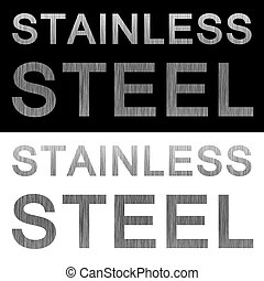 Stainless steel brushed metal texture labels isolated over black and white backgrounds.