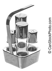 Isolated image of a stainless steel condiment.
