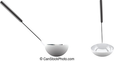 Stainless steel cooking ladle vector illustration isolated