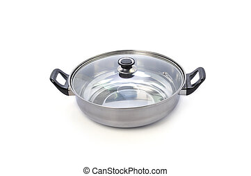 stainless steel cooking pot isolated on white background