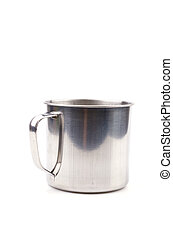 Stainless steel cup isolated white background