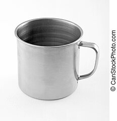 Stainless steel cup on white background.