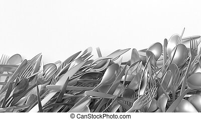 Stainless steel cutlery, isolated on white background with copy-space.