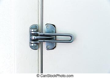 Stainless steel door hinge with ball lock.
