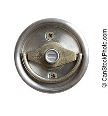 Stainless steel door knob isolated on white background