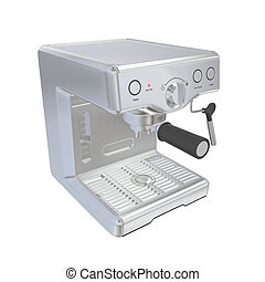 Stainless steel espresso coffee machine, 3D illustration