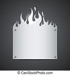 Blank plate stainless steel fire flames style background vecto